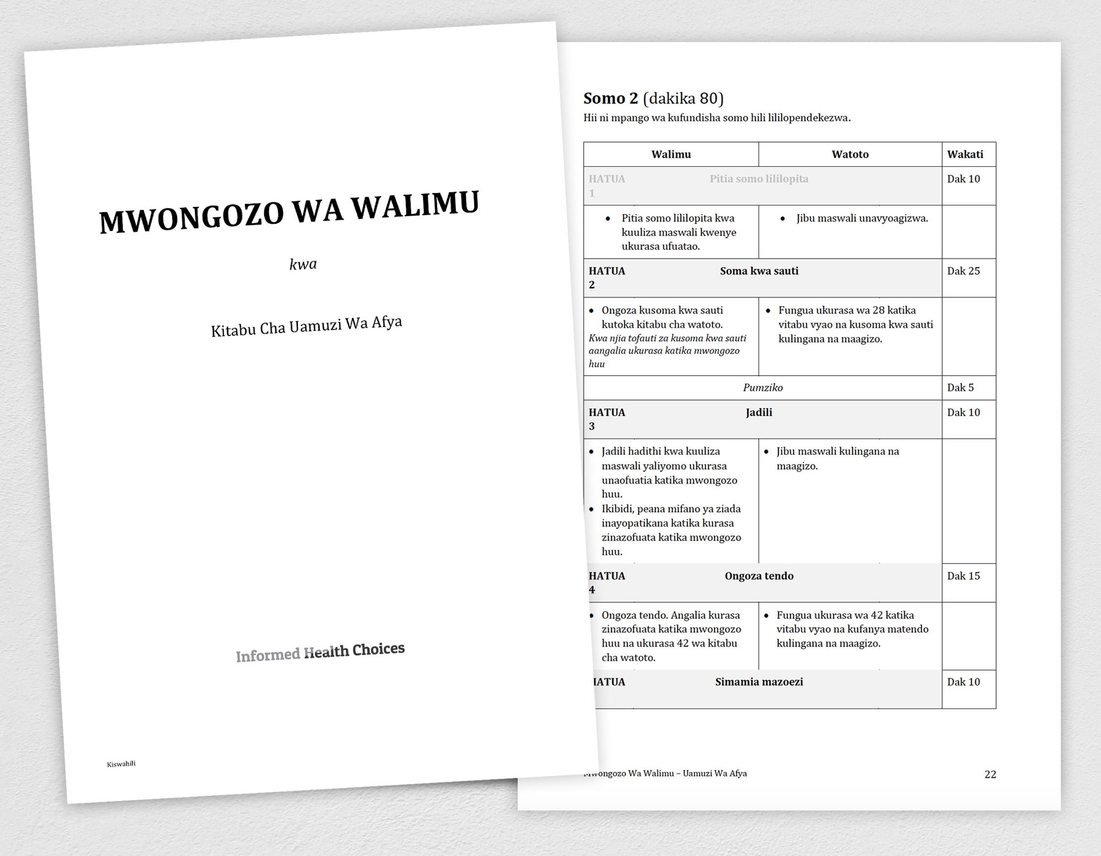 Cover and one page of Teachers Guide in Kiswahili